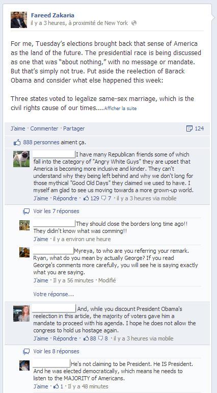 Page Facebook de Fareed Zakaria: Le classement des commentaires en test