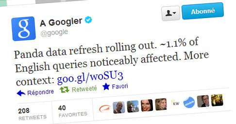 Google annonce la mise à jour des données de Panda sur Twitter