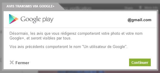 Google+ intégré dans Google Play