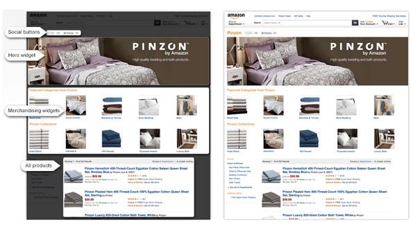 Exemple de page Amazon pour les marques