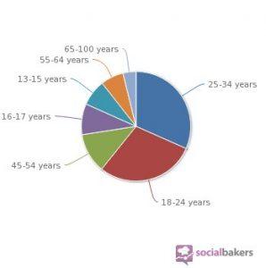 Répartition par âge des utilisateurs de Facebook en 2012 (Socialbakers)
