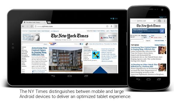 Google: Site optimisé pour les tablettes