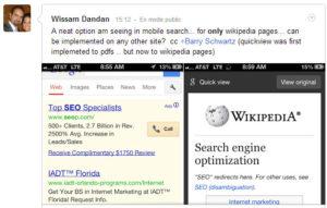 L'aperçu instantané version mobile (test Google)