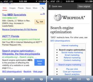 L'aperçu instantané pour la recherche mobile Google