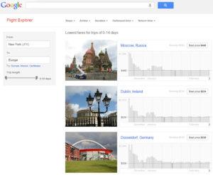 Flight Explorer, le comparateur de vols de Google