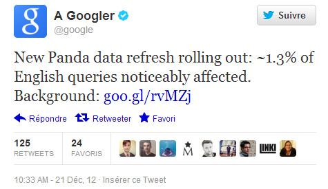 23ème mise à jour des données de Google Panda annoncée sur Twitter