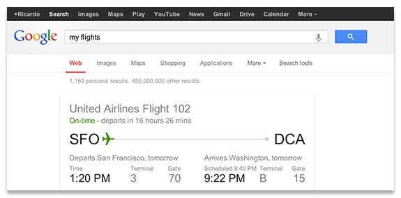 Mes vols: les résultats de Gmail dans la SERP de Google