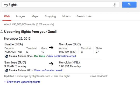 Google notifie les réservations de vols dans les résultats de recherche