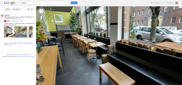 voir l int rieur des restaurants avec google street view. Black Bedroom Furniture Sets. Home Design Ideas