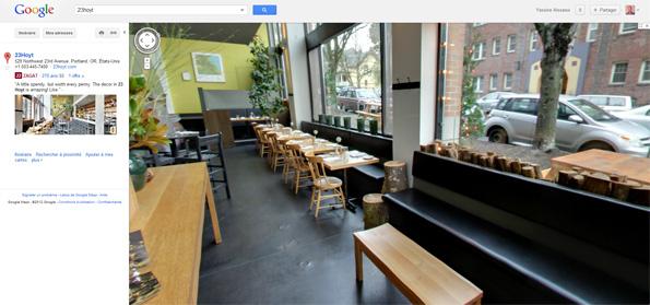 Voir à l'intérieur des restaurants avec Google Street View