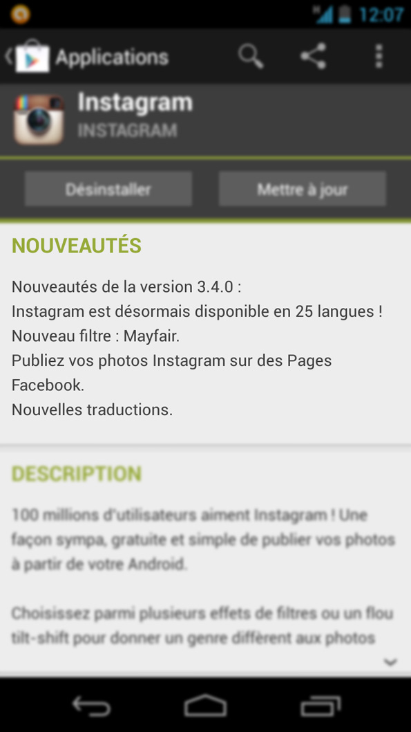 Mise à jour de l'application Instagram, version 3.4