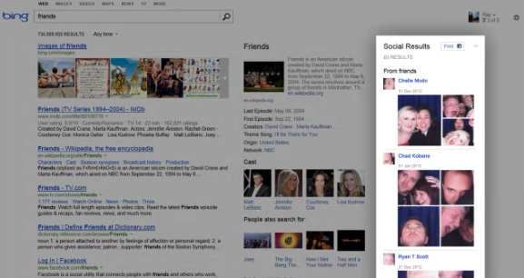 Bing intègre plus de résultats de Facebook dans la barre sociale