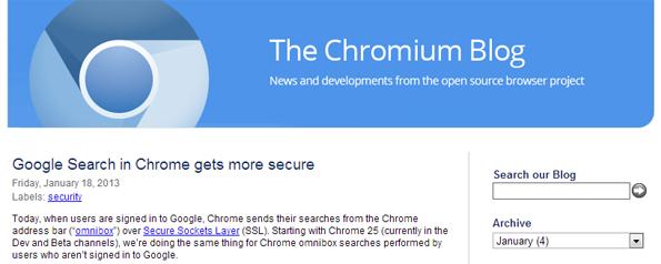 L'article de Google au sujet du protocole SSL intégrée dans le navigateur web Chrome version 25.