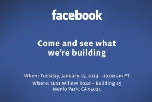 Invitation mystère de Facebook: une conférence pour annoncer une nouveauté