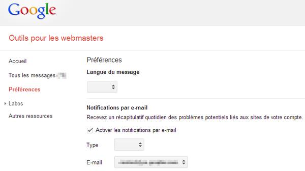 Bug dans les « Préférences » de Google Webmaster Tools