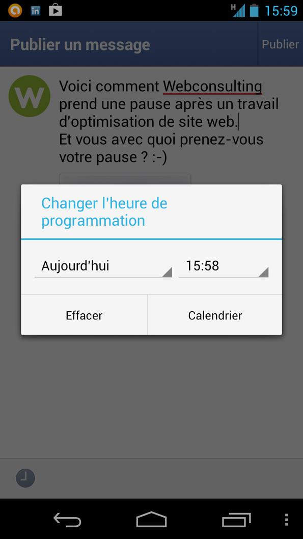 L'application Pages Manager de Facebook permet de programmer des messages.