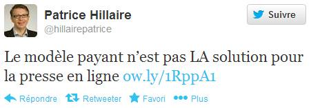 Patrice Hillaire sur Twitter