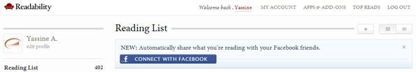 Readability intègre Facebook dans son application de lecture différée.