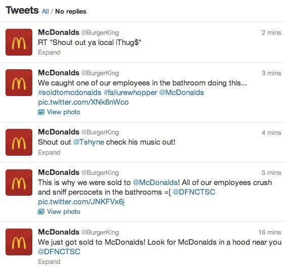Compte Twitter de Burger King piraté