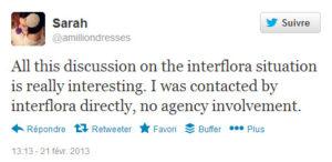 @amilliondresses annonce que c'est Interflora qui l'a contacté