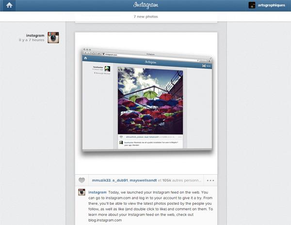 Flux Instagram: flux disponibles sur le Web