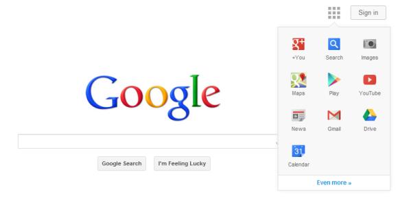 Menu de navigation de Google en test