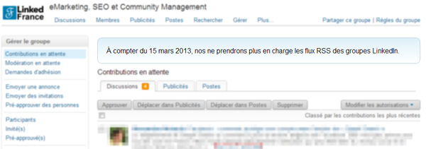Le partage de flux RSS dans les groupes LinkedIn, c'est fini !