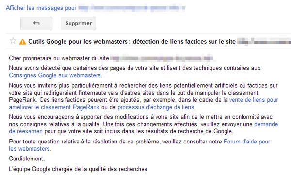 Liens factices détectés par Google Webmaster Tools