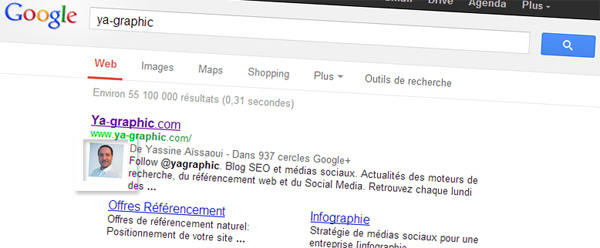 Photo auteur de Google+ affichée dans les résultats organiques de Google