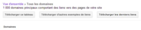 Télécharger les derniers liens acquis par un site dans Google Webmaster Tools