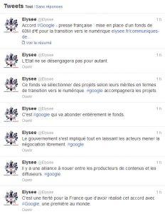 Tweets de l'Élysée au sujet de la conférence entre Google et les éditeurs de presse française.