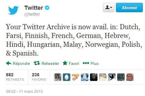 Twitter annonce qu'il est possible de télécharger l'archive Twitter