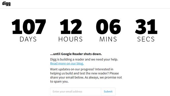 Compte à rebours Digg pour la fin de Google Reader