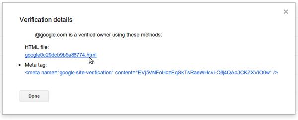 Du nouveau dans la validation de site via Google Webmaster Tools