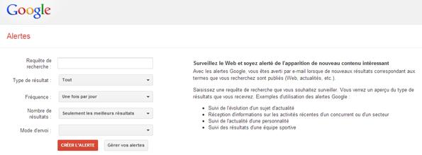 Panne de Google Alertes ?