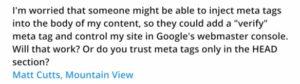 Matt Cutts: Sécurité des sites web et balises META