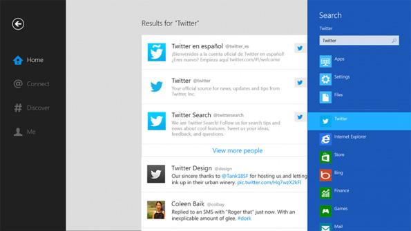 La fonctionnalité de recherche dans Twitter pour Windows 8 et Windows RT