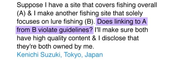 Question posée à Matt Cutts sur le netlinking entre deux sites