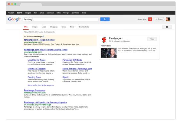 Page actuelle des résultats de recherche de Google.