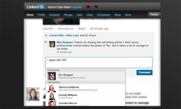 LinkedIn: la possibilité de mentionner des membres dans les conversations