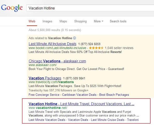 Résultats de recherche de Google.com: Un site infecté non signalé chez Google.com