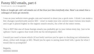 Drôles d'e-mails de SEO