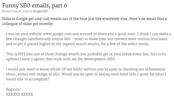 Spam par e-mail de la part de SEO