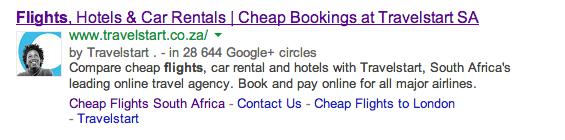 La photo d'une page Google+ d'entreprise dans les résultats de recherche de Google