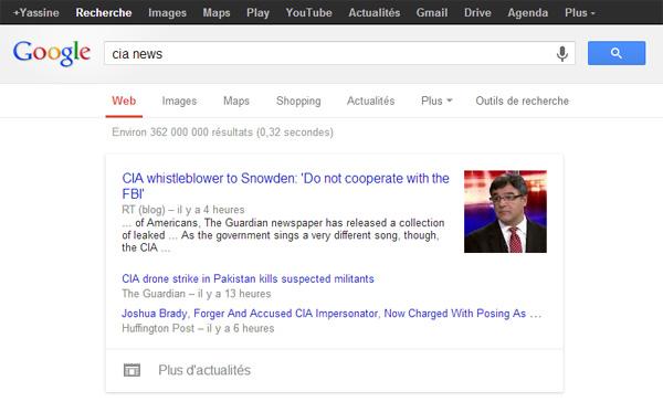 Google News affiché sous forme de carte dans les résultats de Google