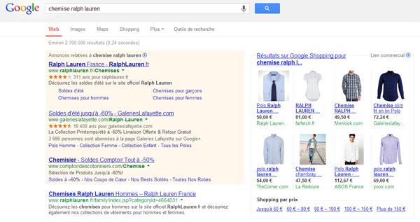 Annonces de vêtements de marque dans Google Shopping