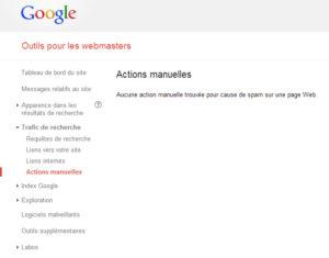 Actions manuelles (Google Webmaster Tools)