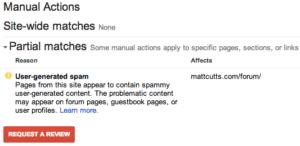 Exemple de pénalité manuelle par Matt Cutts