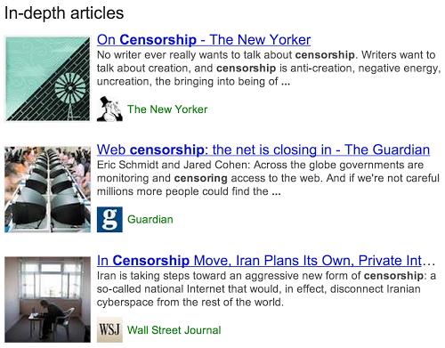 Articles de fond dans les résultats de recherche de Google