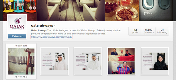 Instagram Qatar Airways